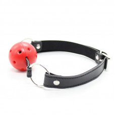Кляп шар красный с черным ремешком