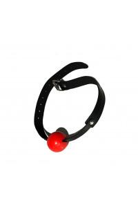 Кляп шар силикон красный с черным ремешком