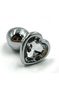 Пробка металлическая с сердечком (белый) страз Small Heart