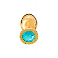 Анальная втулка, большая, золотая, с нежно голубым кристалом