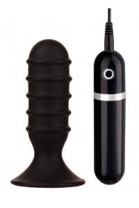 Вибратор анальный ребристый черный MENZSTUFF RIBBED TORPEDO VIBR. 4INCH BLK 8,5 см.