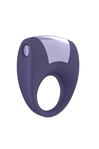 Эрекционное кольцо OVO с удобной кнопкой включения и сильной вибрацией, силиконовое, ежевичное