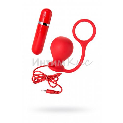 Анальная вибровтулка MENZSTUFF ASS CORK WIDE RED с эрекционным кольцом, силиконовая, красная, 7,5 см