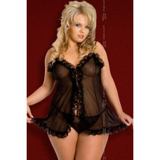 Kaya - Ночная сорочка и стринги черные-XL