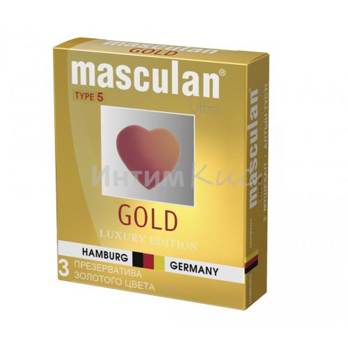 Презервативы Masculan 5 Ultra , Золотого цвета, 3шт