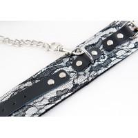 Кружевной набор серебристый: ошейник и наручники