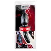 Анальная вибровтулка TOYFA Black&Red для фистинга, силиконовая, черная, 10 см, ? 5 см