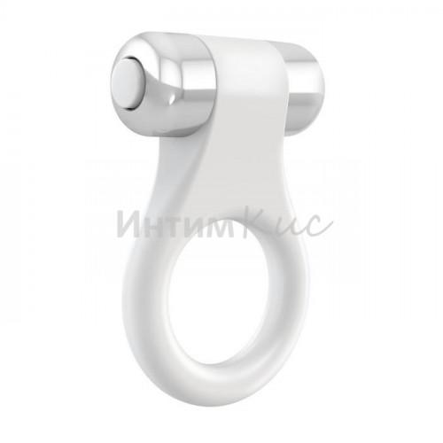 Эрекционное кольцо OVO в форме драгоценного изделия, силиконовое, белое
