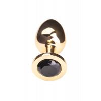 Анальная втулка TOYFA Metal большая, золотая, с черным кристаллом