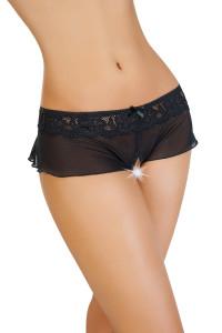 Эротические трусики-юбочка Erolanta Lingerie Collection из стрейч-сетки, черные (50-52)