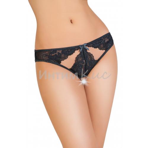 Эротические трусики Erolanta Lingerie Collection, кружевные с ажурными вырезами черные (42-44)