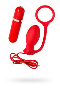 Вибровтулка анальная MENZSTUFF ASS CORK SMALL RED с эрккционным кольцом, силиконовая, красная,  7,5