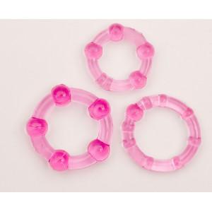 Набор колец 3шт. розовые