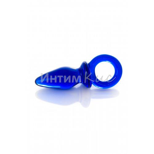Анальная втулка Sexus Glass с кольцом, стеклянная, синяя, 7 см