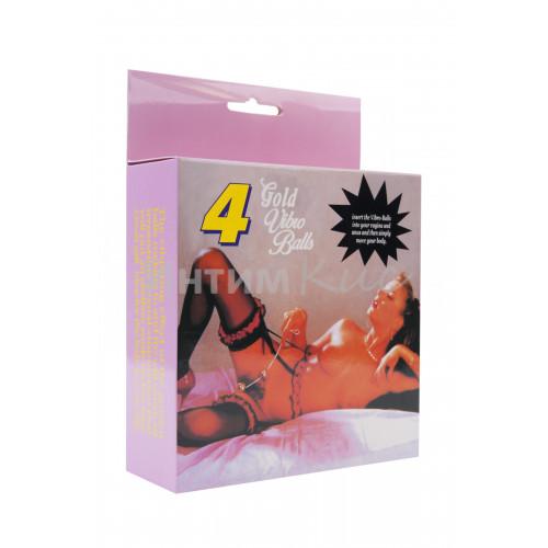 Вагинальные шарики Dream Toys со смещенным центром тяжести, ABS пластик, золотые, 4 шт., ?3,5 см