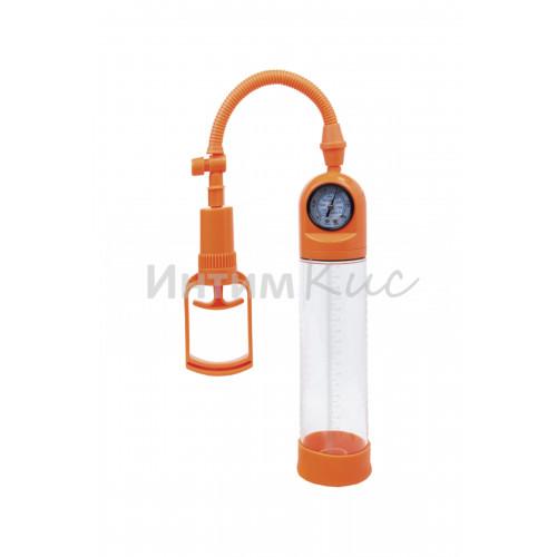 Вакуумная помпа мощная с манометром, 20 см, оранжевая