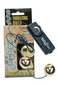 Вагинальные шарики Dream Toys с вибрацией, золотистые, ?3,5 см