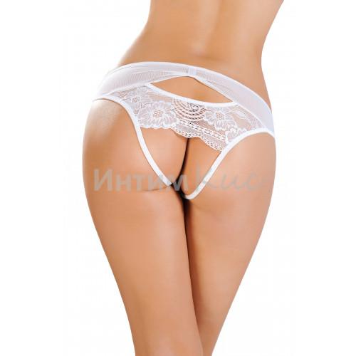 Эротические трусики Erolanta Lingerie Collection со вставкой стрейч-сетки белые (42-44)