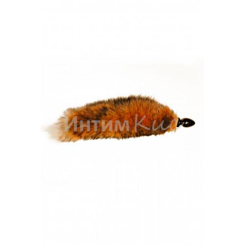 Анальная втулка с рыжим лисьим хвостом 32мм
