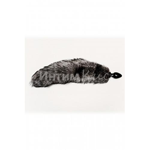 Анальная втулка с серым лисьим хвостом 40мм