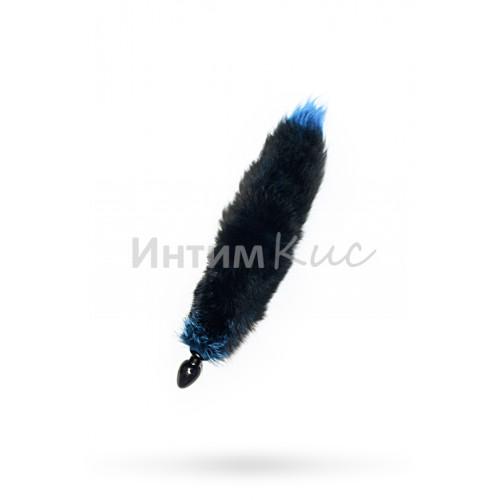 Анальная втулка с голубым лисьим хвостом 40 мм