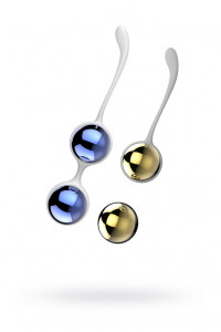 Вагинальные шарики Nalone Yany, металлические, синий + золото
