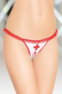 Стринги медсестры открытые бело-красные-S/M