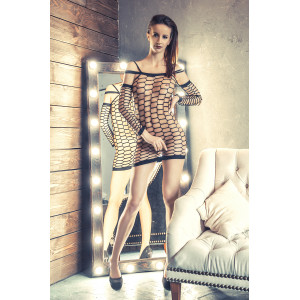Платье-сетка Erolanta Net Magic бесшовное с рукавами, черное-S/M