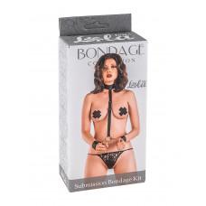 Ошейник с длинной лентой и отстегивающимися наручниками Submission Bondage Kit Plus size 1059-02lola